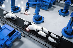 Robot assembly line. 3d rendering robot assembly line producing cyborg in factory vector illustration