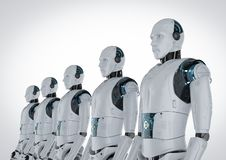 Robot assembly in a row. 3d rendering robot assembly or group of cyborgs vector illustration
