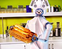 Robot assistance hiring at job. Artificial intelligence replace people Stock Image