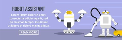 Robot assistant banner horizontal concept vector illustration