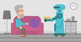 Robot assistant bringing food to an elderly man. Stock Image
