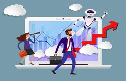Free Robot Assistant In Business From Screen Of Laptop Prompts Head Direction For Movement To Success. Happy Employees Look To Stock Photography - 164648002