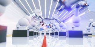 Robot astuto di industria di automazione nell'azione fotografia stock