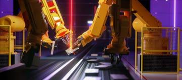 Robot astuto di industria di automazione nell'azione fotografia stock libera da diritti