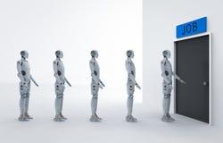 Robot att byta ut mänskligt jobb royaltyfri illustrationer