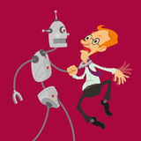 Robot attacked man. Aggressive robot attacked intelligent man with glasses, vector cartoon Royalty Free Stock Photos