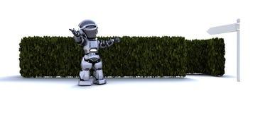 Robot au début d'un labyrinthe illustration stock