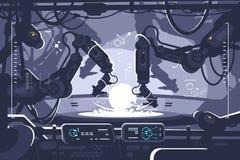 Robot automatico nella produzione industriale illustrazione di stock