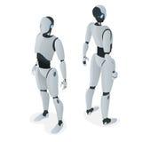 Robot autonome isométrique Vecteur plat d'isolement sur l'illustration blanche Intelligence artificielle illustration stock