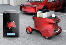Robot autonomo di consegna davanti al garage che aspetta selezionando pizza royalty illustrazione gratis