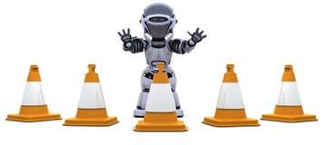 Robot avec des cônes de circulation Image libre de droits