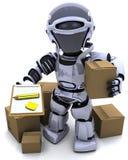 Robot avec des cartons d'expédition Photographie stock
