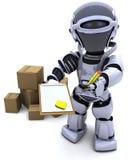 Robot avec des cartons d'expédition illustration stock