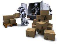 Robot avec des cartons d'expédition chargeant un fourgon illustration libre de droits