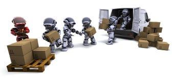 Robot avec des cartons d'expédition chargeant un fourgon Photo stock