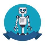 Robot avec des roues autour d'emblème illustration de vecteur