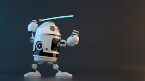 Robot avec l'épée de Katana Concept de technologie Contient le chemin de coupure illustration stock
