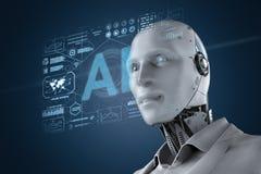 Robot avec l'affichage graphique illustration stock