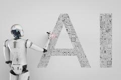 Robot avec l'AI illustration stock