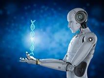 Robot avec l'hélice d'ADN Image libre de droits