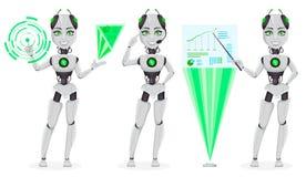 Robot avec l'intelligence artificielle, bot femelle illustration stock