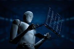 Robot avec l'ordinateur portable en verre Image stock