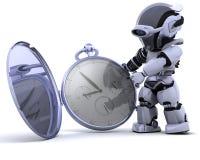 Robot avec la montre de poche classique Photo stock