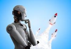 Robot avec la navette spatiale illustration de vecteur