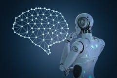 Robot avec le cerveau d'AI photo stock