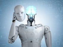 Robot avec le cerveau d'AI illustration stock