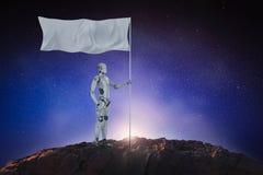 Robot avec le drapeau blanc illustration stock