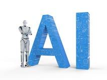 Robot avec le texte d'AI photo libre de droits