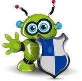 Robot avec un bouclier Photo stock