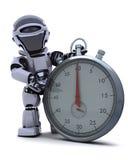 Robot avec un chronomètre traditionnel de chrome illustration de vecteur