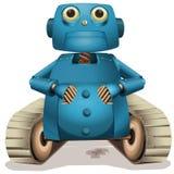 Robot azul con las ruedas Fotografía de archivo libre de regalías