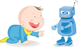 Robot and baby Stock Photography