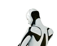 Robot backwards thinking. Cool dreaming robot from back view Royalty Free Stock Photography