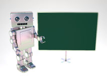 Robot at balckboard. Old style robot at blackboard Royalty Free Stock Image
