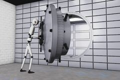 A robot and a bank safe. 3d rendering vector illustration