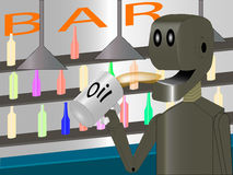 Robot at the bar drinking oil Stock Photos