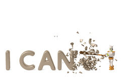 Robot with a baseball bat to break text,I can`t to I can.3D illu Stock Photos