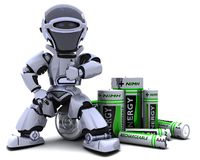 Robot with Batteries. 3D render of a Robot with Batteries Stock Photography