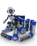 Robot with batteries Stock Photos