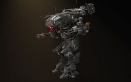 Robot battle mech. Futuristic Robot battle mech with guns Royalty Free Stock Photography