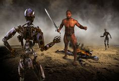 Robot Battle, War, Combat, Apocalypse. Science Fiction fantasy of a human man fighting a war against an apocalypse of evil robot soldiers. The battle unfolds in Stock Image