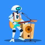 Robot Bawić się gitarę I Śpiewackiego wektor button ręce s push odizolowana początku ilustracyjna kobieta royalty ilustracja