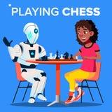Robot Bawić się szachy Z kobieta wektorem button ręce s push odizolowana początku ilustracyjna kobieta royalty ilustracja
