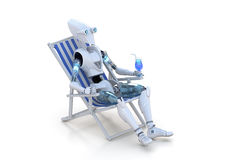 Robot on Beach Chair royalty free stock photography