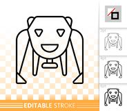 Robot Bear simple black line vector icon royalty free illustration