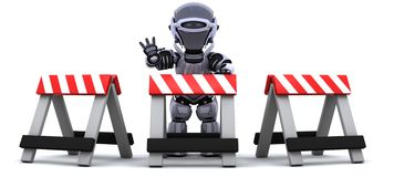 Robot behind a barrier Stock Photos